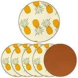 Sottobicchieri rotondi per bevande, 6 pezzi, per tazze e tazze, motivo: ananas