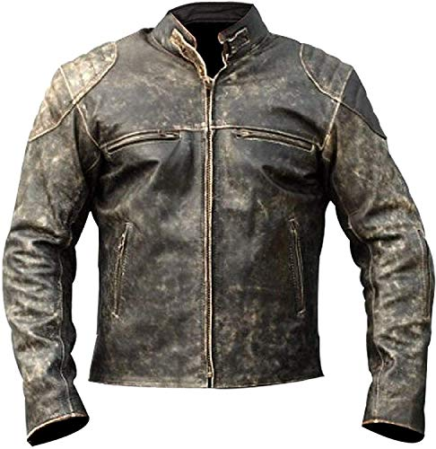 Mens Cafe Racer Antique Retro Vintage Style Motorcycle Distressed Leather Jacket