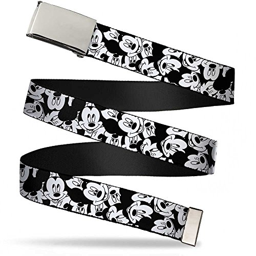 Buckle-Down Cinturón de tela grande para niños Mickey Mouse de 2,5 cm, Mickey Mouse Expressions Stacked White/Black USB Óptico 800DPI Negro mouse, 1.0' Wide - Fits up to Kids Size 20