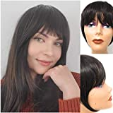 Clip in Bangs Dark Brown - Synthetic Hair Bang Extensions, Realistic & Attractive Air Fringe Clip On Bangs Fake Hair Bangs with Temples for Women (#4)