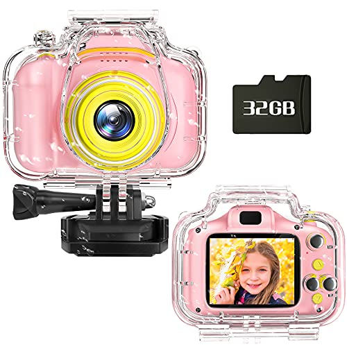 Miiulodi Kids Camera Waterproof Camera for Kids Birthday Gift for Girls 1080P Children Digital Camera Underwater Video Toddler Christmas Toys for Age 3 4 5 6 7 8 Years Old Boys with 32GB Card