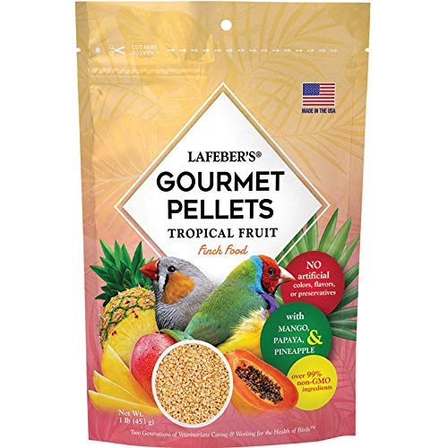 LAFEBER'S Premium Tropical Fruit Pellets Pet Bird Food, Made with Non-GMO and Human-Grade Ingredients, for Finches, 1 lbs