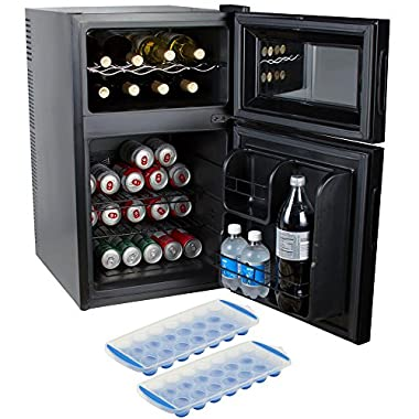 Kalorik 2-in-1 Beer or Soda and Wine Fridge Cooler (WCL 42513 BK) with 2 Free Ice Trays