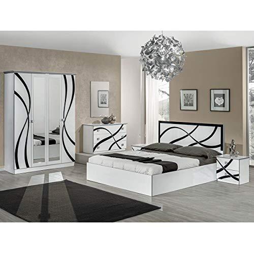 AltoBuy SYLLA Blanche - Chambre Complète avec Lit 160x200cm