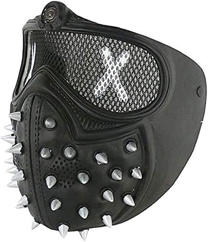 ASEDRF Rivet Watch Dogs 2 Masken, Weich-PVC-Halloween Punk Cosplay Wrench Halbe Gesichtsmaske, Spiel-Stütze Für Partei-Kostüm-Halloween-Cosplay Partei,A