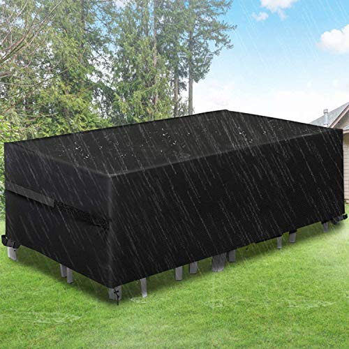 king do way Garden Furniture Covers,Large Garden Table Cover 600D Heavy Duty Oxford Fabric Patio Furniture Covers Waterproof,Windproof,&Anti-UV for Chair and Table Rattan Sofa 315 X 180 X 74cm (Black)