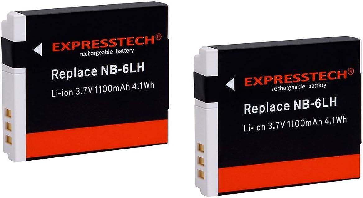 Expresstech - 2x Reemplazo batería NB-6LH NB6LH 1100mah con InfoChip para Canon Powershot ELPH 500 HS IS SD980 SD1300IS SD3500IS D10 D20 240 HS SX260 SX270 SX280 SX500 SX510 SX520 SX530 SX540