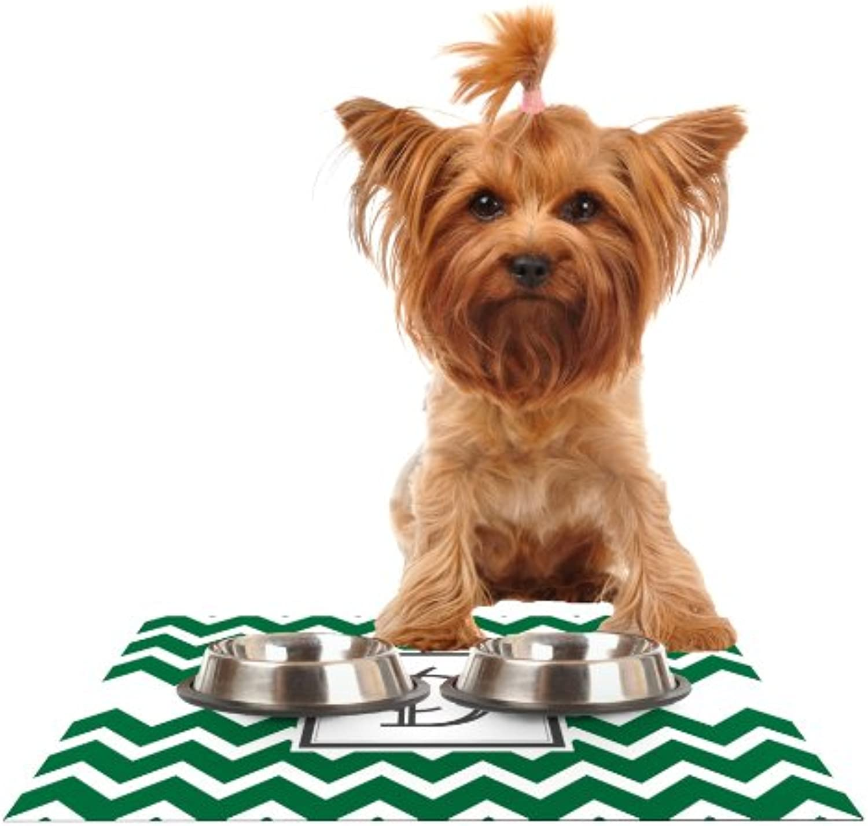 KESS InHouse KESS Original Monogram Chevron Green Letter D  Feeding Mat for Pet Bowl, 24 by 15Inch