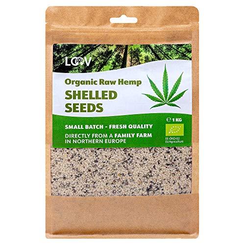 Graines de chanvre bio crues décortiqués, 1 kg, Non traité à la chaleur, nutriments préservés, délicieuse saveur de noisette, cultivé dans les régions nordiques, Source de protéines et d'acides oméga