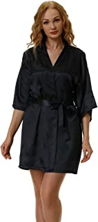 Womens Short Satin Robe Pure Silky Kimono Bridal Bridesmaid Bathrobe Wedding Party Robes Sleepwear