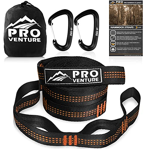 Pro Venture Hammock Straps and 2 Carabiners, 30+2 Loops, 1200lbs Breaking Strength (400lbs Rated) | 100% Non-Stretch, Lightweight, Portable Camping - Quick, Easy Setup | Heavy Duty + Tree Friendly