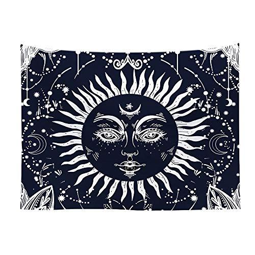 Mandala tapiz blanco negro sol luna tapiz colgante de pared chisme hippie manta tela de fondo tela colgante A6 100x150cm