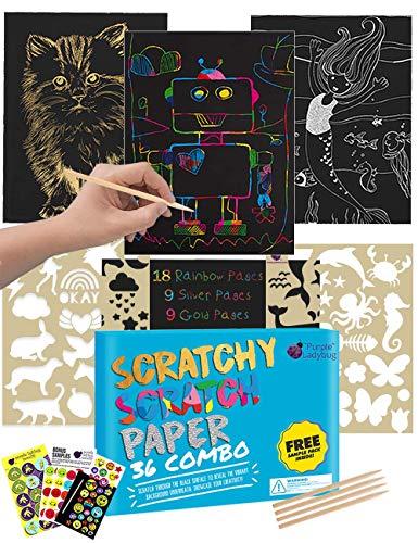 Kratzbilder Set für Kinder von Purple Ladybug | 36 Große Blätter Kratzpapier mit Hintergrund in Gold, Silber und Regenbogen zum Zeichnen und Basteln | mit Schablonen, Holzstiften und Stickern