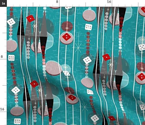 Spoonflower Stoff - Backgammon Retro Game Night Mid Century Modern Würfel Room Stripes Aqua Gedruckt auf Chiffon Stoff Meterware Nähen Mode Bekleidung Kleider Home Decor