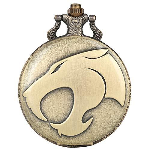 IOMLOP Reloj de bolsilloFiercely Animal Leopard Head Figura Reloj de Bolsillo de Cuarzo Collar Retro Reloj de Cadena con Colgante de Bronce Relojes