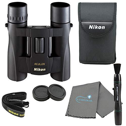 Nikon Aculon A30 10x25 Binoculars Compact Binocular - Black Bundle with a Nikon Lens Pen and Lumintrail Cleaning Cloth