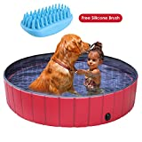 pedy Dog Swimming Pool with Brush, Collapsible Pet Bath Pool Foldable...