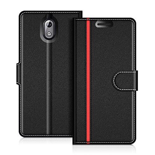 COODIO Handyhülle für Nokia 3.1 Handy Hülle, Nokia 3.1 Hülle Leder Handytasche für Nokia 3.1 Klapphülle Tasche, Schwarz/Rot
