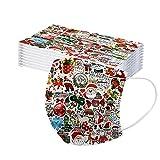 Generic 50 Stück Erwachsene Weihnachten Mundschutz Einweg Mund-Nasenschutz Weihnachtsdruck Bandana Tücher Staubs-chutz Atmungsaktive Mund-Nasen Bedeckung Halstuch Schals