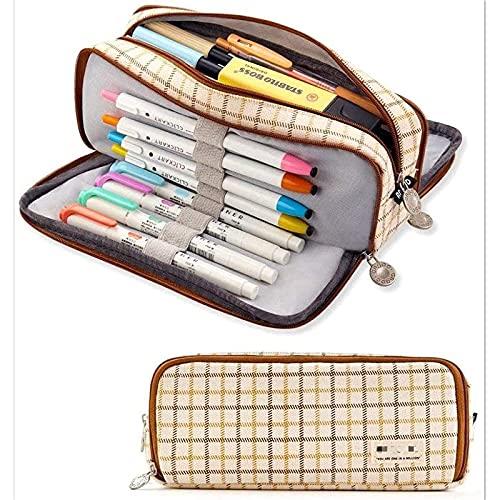 Cxsvwd Bolsa de lápiz, Bolsa de lápiz de Lona Grande, Adecuada para la Bolsa de cosméticos de la Oficina de Adolescentes y al Estudiante, Paquete Plegable