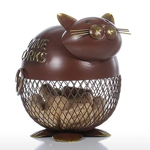 DFSDG Envase de corcho de vino con gato hinchado vintage para decoración del hogar, escultura de metal, decoración de animales