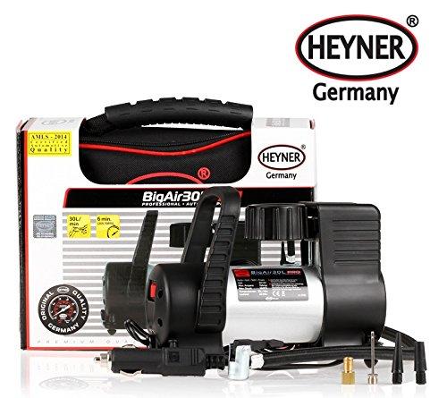 Heyner, hoogwaardige, Duitse 12 V-compressor, bandenpomp van 30 liter, 7 bar, 100 psi, met sigarettenpakket, 3 m kabel, 4 adapters en opbergtas