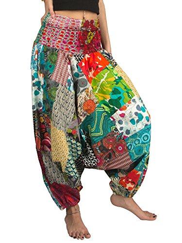 Tribe Azure 100% Cotton Harem Pants Colorful Summer Hippie Yoga Boho Casual Fashion Women (Medium)