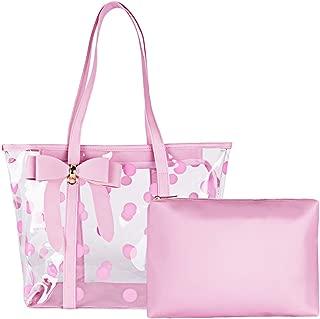 FF1 Women Waterproof Clear Tote Bags Shoulder Bag Handbag Beach Bag Shopping Bag Work Bag