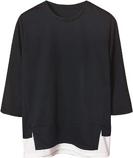 [サコイユ] カットソー レイヤード風 スウェット M~6XL 7分袖 Tシャツ 薄手 トップス 無地 切替 秋 冬 春 メンズ