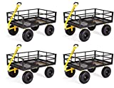 Gorilla Carts GOR1400-COM Heavy-Duty Steel Utility Cart with Removable Sides and 15' Tires, 1400-lbs. Capacity, Black (Pack of 4)