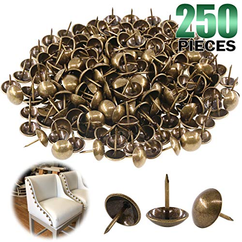 Keadic 250Pcs [ 5/8' in Diameter ] Antique Upholstery Tacks Furniture Nails Pins Assortment Kit for Upholstered Furniture Cork Board or DIY Projects - Bronze