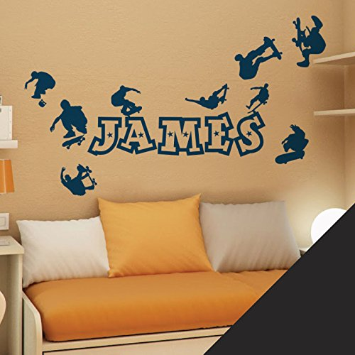 Personalised Name Boys Wall Art Sticker - Skaters, Skateboard, Park, Skate - [ Just message us with the name! ] by Wall Designer