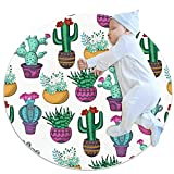 Machine Washable Round Area Rug Indoor Ultra Soft Bedroom Floor Sofa Living Room Dorm Small Circular Carpet, Colorful Succulents Flowers Twigs Leaves Plants