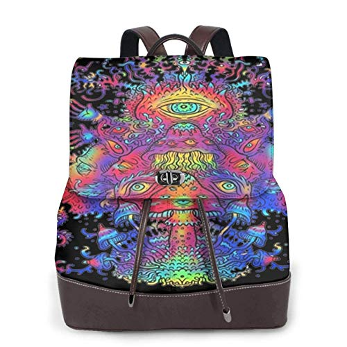 Women'S Leather Backpack,Blue Mushroom Dance Print Women'S Leather Backpack