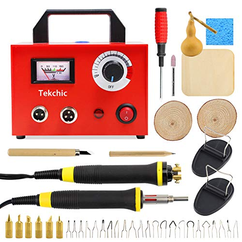 Wood Burning Kit, Tekchic 110V 100W Upgraded Woodburning Pyrography Pens Dual Wood Burner with 20 Tips Including Ball Tips and Shading Tips with Temp Control