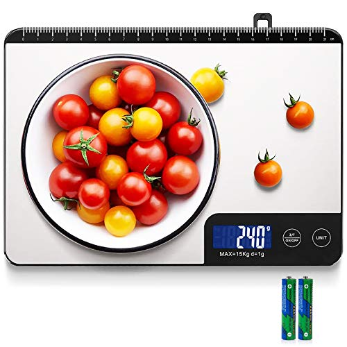 Bilancia Cucina Digitale, HOMEVER 15kg Bilancia Cucina con 6 Measuring Units, Schermo LCD, Funzione Tara, Design in Acciaio Inossidabile, Batterie incluse