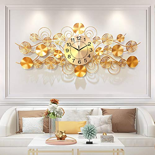 Wanduhren Moderne Metall Wanduhr GroB Gross Xxl Für Wohnzimmer Hauptdekoration Stumm Kreative Geschenke gold2-100X45CM