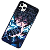 LED Light Glow case for iPhone 6/6s Plus case with Screen Protector Cute for women/Men Light up Sasuke case Tempered Glass Call Glowing Luminescent Anime Comic Theme Anti-Scratch Shockproof Clear Case