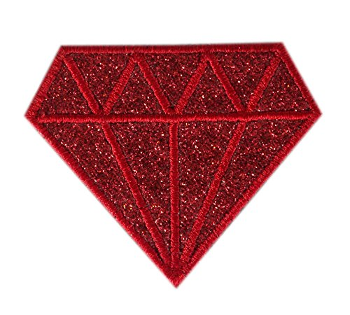 Embroidered Glitter Sparkle Red Ruby Diamond Gem Applique Patch Iron On Sew On