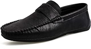 HaiNing Zheng Driving Loafers for Men Casual Loafers Slip On Sheepskin Rubber Soles Lightweight Vegan Sewing Thread Walking Party Round Toe (Color : Black, Size : 7 UK)