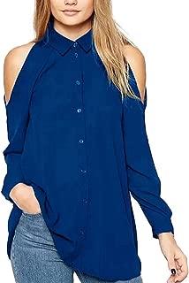Fitfulvan Women's Halter Neck Tops Off Shoulder Lapel Blouse Solid Long Sleeve Loose T-Shirt