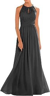 Women's Halter Lace A-Line Chiffon Floor-Length Bridesmaid Dress