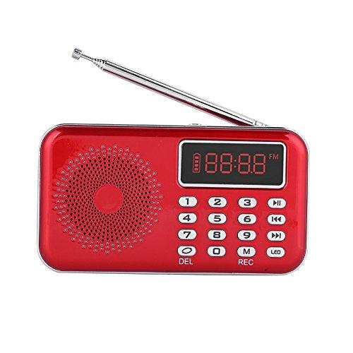 Topiky MP3-speler-radio, draagbare FM-radio met ruisonderdrukking USB/TF/AUX-spraakopname MP3-speler-radio grote led met PW-cut-geheugen, rood