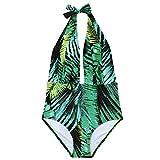 JewelryWe Bikini 2018 Push Up Traje de Baño Verde de Hojas Mujer, Bañador Sexy Bikinis Acolchada Abierta Frontal Sin Tirantes para Playa, Nuevo Modelo by, Talla M