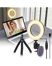 UooEA Selfie Ring Light con supporto per treppiede e ventosa, kit di illuminazione per videoconferenze 3200k-6500K dimmerabile su laptop, computer, tablet, luce Halo LED per chiamata con zoom, trucco