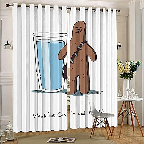 STTYE Cortinas personalizadas Chid de Star Wars Humor Wookie Cookie Room Cortinas oscurecidas con ojales para ventana de 110 cm x 215 cm x 2 piezas