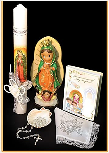Christening Baptism Set for Girl, Boy, or Unisex: Virgen Lady of Guadalupe Statue 8in Candle, Bible, Dry Cloth, Sea Shell, Rosary Spanish Handmade –Bautizo Religious Gift