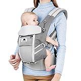 Ti bebe transpòtè Baby Carrier Baby Carrier 4in1 (9 Pote) pou ti bebe 48 mwa (3.2-20kg) Timoun piti, èrgonomi Baby Carrier, rèspirant, limyè gri