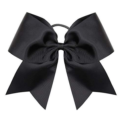 "Oaoleer Boutique Teens Women 8"" Jumbo Large Black Cheer Bow Ponytail Holder Elastic Band Handmade for Cheerleading Teen Girls College Sports (Back 1pcs)"