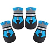 Dimicoo Winter Dog Boots Neoprene Nonslip Rubber Sole for Snow Blue L (Pack of 4)